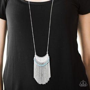Long Tassel Distressed Metal Necklace